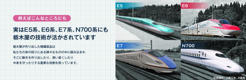 実はE5系、E6系、E7系、N700系にも栃木屋の技術が活かされています